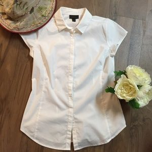 White cap sleeve button down blouse